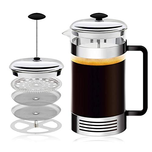 French Press High-Grade Stainless-Steel Single Cup or 32 Ounce Multi-Cup Coffee Maker, Coffee Press For Gourmet Coffee At Home With This French Coffee Press