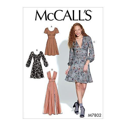 McCall Pattern Company McCall's Women's V-Neck Sleeveless, Short 3/4 Sleeve Dress Sewing Patterns, Sizes 6-14, 6-8-10-12-14, White