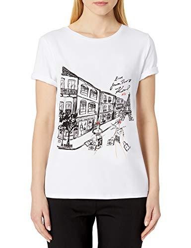 Karl Lagerfeld Paris Damen Parisian Street Block Tee T-Shirt, Weiß (Soft White), X-Groß