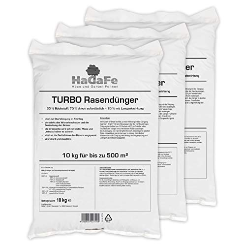 HaGaFe Turbo Rasendünger Mit 30% Stickstoff Spezialdünger Dünger Mit 120 Tage LZW, 30 Kg Für 1500 M²
