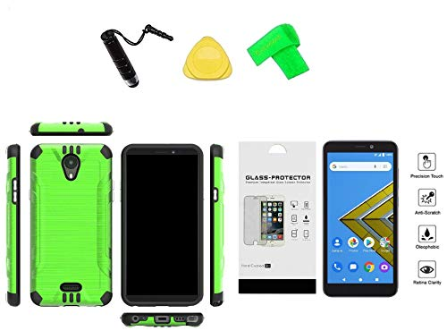 for AT&T Prepaid Radiant Core U304AA Slim Brush Hybrid Cover Case + Tempered Glass + Extreme Band + Stylus Pen + Pry Tool (Green)