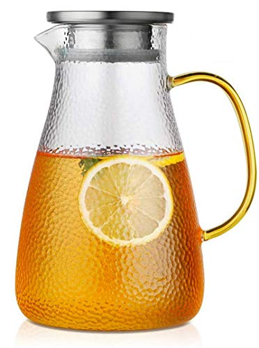 Wasserkaraffe,2 Liter Grosse Kapazität Glaskaraffe Mit Griff Drehbar Edelstahl Deckel,Überlegener hitzebeständiger Wasser krug Anwendbar Hausgemachte Getränke Eistee Milch Kaffee Wein Saft