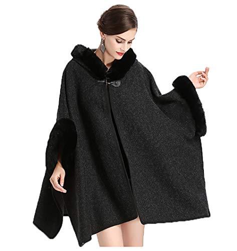 vannawong Abrigo con capucha para mujer de gran tamaño, para clima frío, chaqueta de punto con parte frontal abierta, chaqueta de punto con suave exterior y mangas Negro Tallaúnica