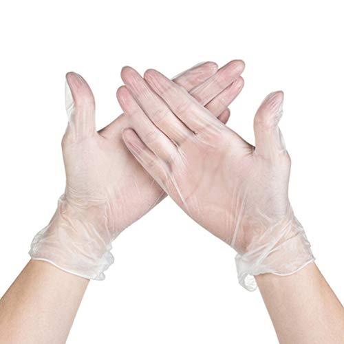Nuobesty Einweg-Handschuhe aus Vinyl-Pulver, Einweg-Handschuhe, puderfrei, ohne Touchscreen, zum Backen, 100 Stück (Größe M)