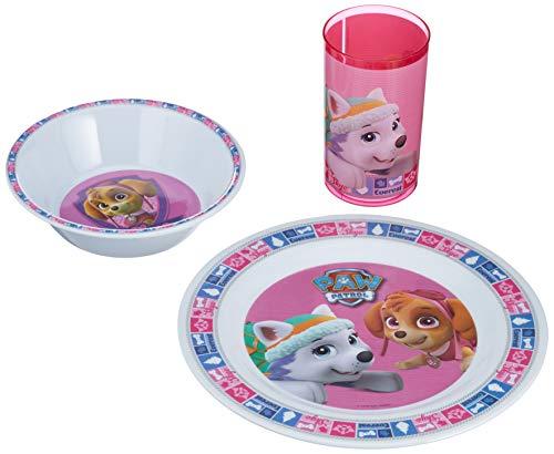 POS 29244088 - Frühstücksset mit Paw Patrol Motiv, 3 teiliges Geschirrset für Kinder bestehend aus Teller, Schale und Becher, stabiles Melamin, bpa- und phthalatfrei, spülmaschinengeeignet