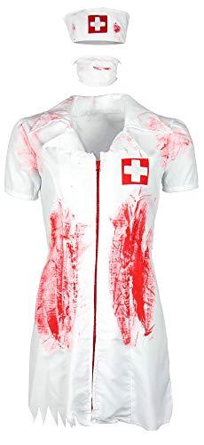 Foxxeo blutiges Halloween Zombie Krankenschwester Kostüm für Damen zu Fasching Karneval, Größe S