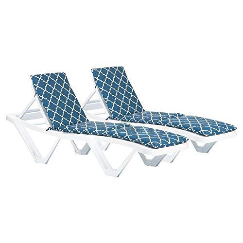 Harbour Housewares Maestros Tumbona Cojines - acolchado al aire libre Patio jardín Sillón Colchón - Armada de Marruecos - Paquete de 2