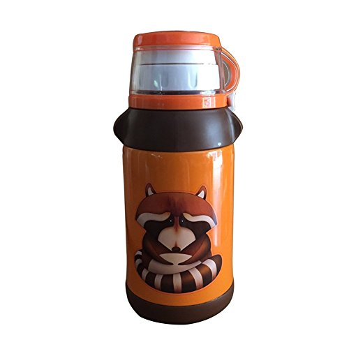 beddybear Tasse de voyage en acier inoxydable pour enfant sous vide anti-fuites paille bouteille thermique – 480 ml, Orange