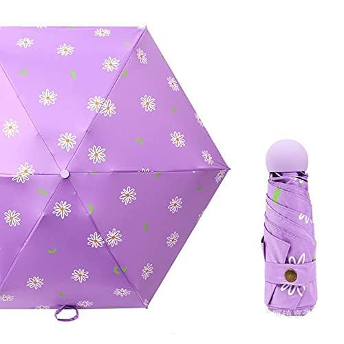DJMJHG Precioso Corazón Flor Patrón Luz Mini Pequeño Paraguas Cinco Bolsillo Plegable Paraguas Para Mujeres Niña Uv Paraguas YD200172CPU