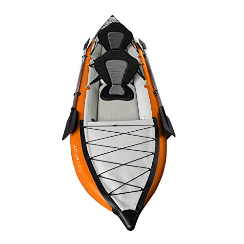 AQUATEC Kayak | Inflatable Sea & Fishing Kayak | Inflatable Boat Available as Single or Double Kayak | Bag & Kayak Paddles Included , Hudson )
