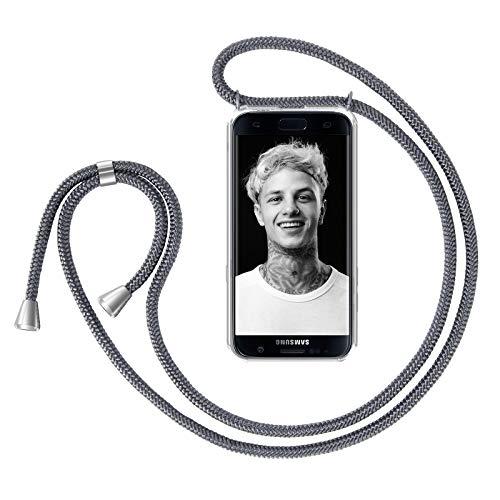 ZhinkArts Handykette kompatibel mit Samsung Galaxy S7 Edge - Smartphone Necklace Hülle mit Band - Handyhülle Case mit Kette zum umhängen in Dunkelgrau