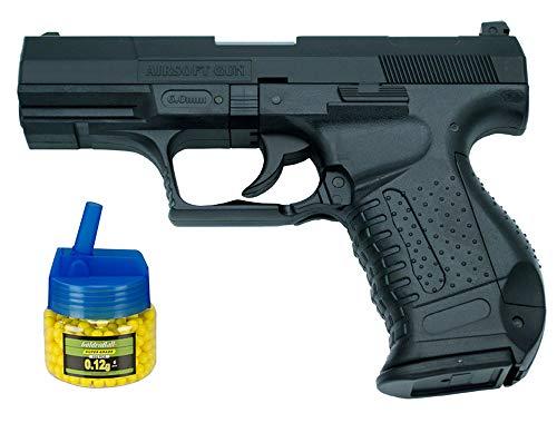 Tiendas LGP - Pistola HFC Tipo Walther P99 - Negra - Pistola Muelle Pesada Calibre 6 mm - Energía 0.29 Julios - Velocidad de Disparo 70m/s - 230 FPS. + Biberón 500 Bolas 12 Gramos de 6 mm. de Regalo