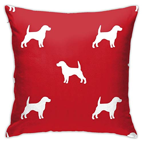 87569dwdsdwd Beagle Silhouette Basic Dog Breed Red Square Pillow Case Home Sofa Decorative 18' X 18'Inch Ultra Soft Comfortable