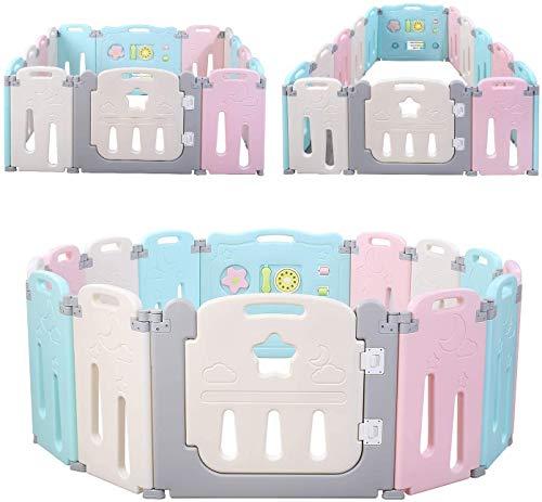 BAMNY Box Recinto per Bambini Barriera di Sicurezza Pieghevole con Porta Plastica Estensibile (rosa+blu+luna, 12+2)