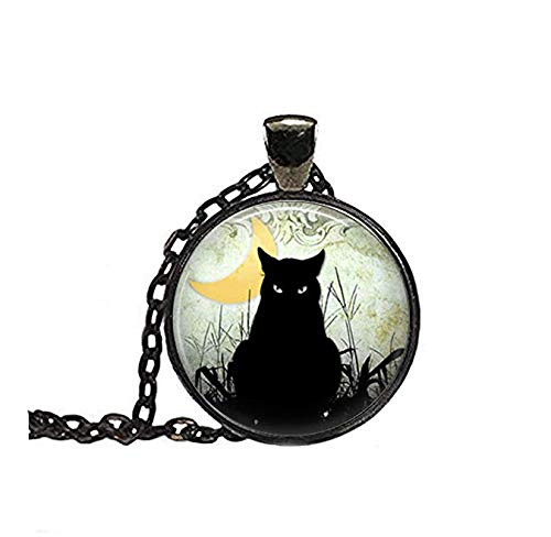 Sunshine Collar de Gato Negro, Luna Creciente, joyería de Gato, joyería de Halloween, joyería gótica, joyería de Cristal de cúpula, Regalo para Ella
