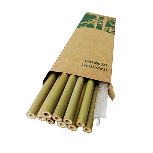 Ouken 20pcs / Set Riutilizzabili bambù Cannucce Cannucce di bambù Organici Cannucce Naturale con Storage Case per La Barra del Partito-Green