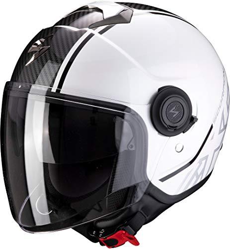 Scorpion Exo-City Avenue Casco Moto, Unisex-Adult, Blanco Negro, M