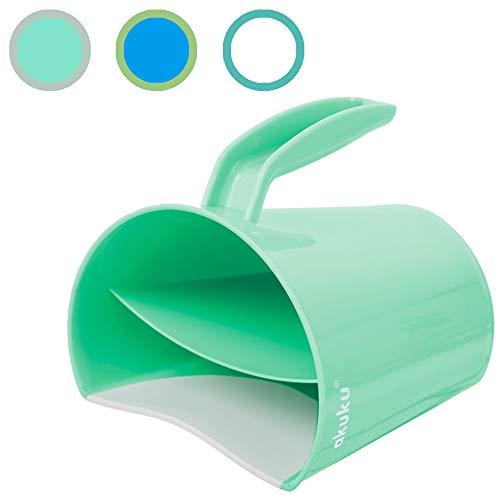 AKUKU Haarwaschbecher Shampoo Schutz grün | Baby Haarwaschhilfe Kinder | Baby Bath Mug Kids Shower Bucket | Badebecher Augenschutz beim Haare Waschen | Haarwäsche Becher Spülbecher