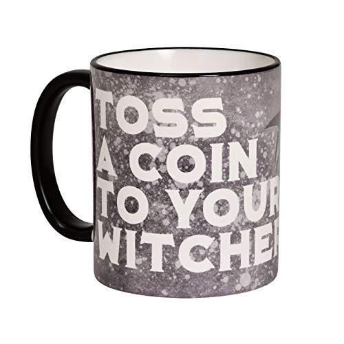 Elbenwald Tasse Toss A Coin to Your Witcher Wolf Emblem Motiv für Witcher Fans 320 ml grau weiß