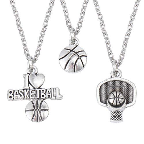 BESPORTBLE 3 Stück Basketball Anhänger Halskette Zarte Legierung Basketball Kette Basketball Anhänger Paar Halskette für Mann Paar Frau