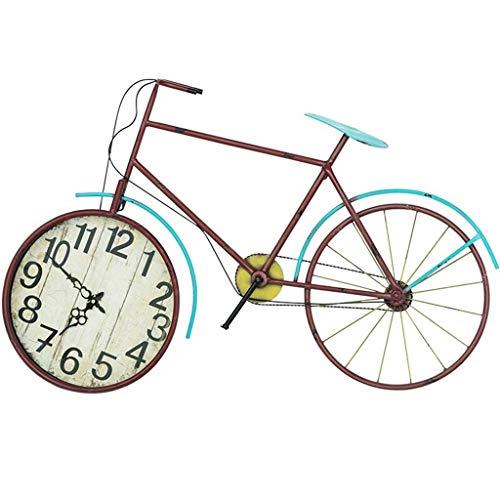 Reloj de Pared Grande de Metal Reloj de Pared Creativo Bicicleta Arte de Hierro Silencioso Vintage Reloj Tridimensional Sala de Estar Café Decoración de Pared Reloj 丨 Sin Segunda Mano 丨 Estilo indust