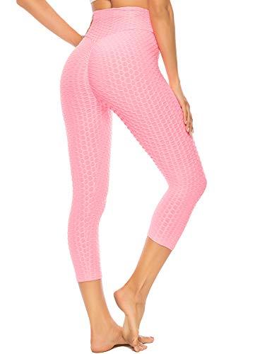 SEASUM Leggings 3/4 Femme Anti-Cellulite Push Up Pantacourt de Sports Taille Haute Slim Fit Butt Lift Pantalon de Compression pour Fitness Gym Pilates, S-Rose XL