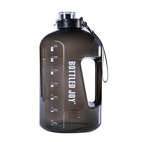 QYYL Botella Agua Deportiva Sin Fugas, Sin BPA Botella de Agua Deportiva, para Oficina, Gimnasio, al Aire Libre, Cepillo de Limpieza Incluido (2.5L,Black/Low Temperature)