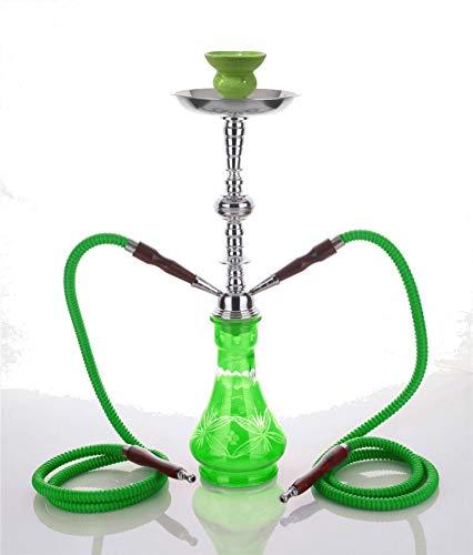 2- Hose Green Crystal Shisha Green Luxury pipe chicha Narguila cachimba - chicha Narguila cachimba sin nicotina sin tabaco best buy chicha
