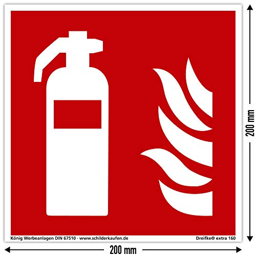 Schild Feuerlöscher | extra langnachleuchtend | PVC selbstklebend 200x200mm | DIN EN ISO 7010 F001 | DIN 67510 (Brandschutzzeichen) Dreifke® extra 160