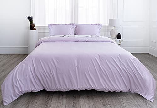 Everspread Duvet Cover Set, 2 Piece (1 Cover + 1 Pillow Sham), Double Brushed Microfiber Soft Breathable Bedding, Zipper Closure, Comforter Corner Ties, Protects & Covers, Twin Size - Lavender