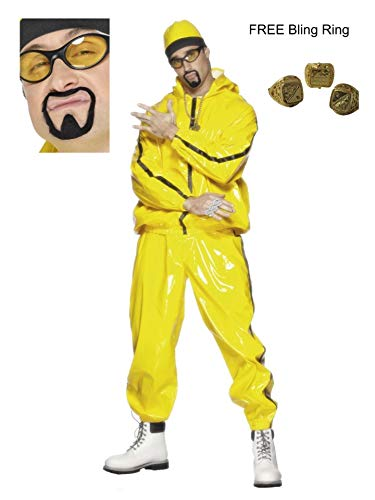 Heren volwassen Ali G Gangster Rapper gele Shell pak Fancy jurk kostuum inclusief Tash - Stag Do Rapper 90's Thema Party Plezier