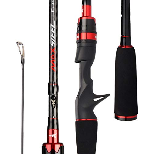 Hayandy Stahlstab Carbon-Casting Angelrute Spinnen mit 1,80m 1,98m 2,13 m 2.28m Baitcasting Rod for Bass Pike Fishing-red_Casting (2,13 m-M-MH) (Color : Red, Size : Casting(2.13m-M-MH))