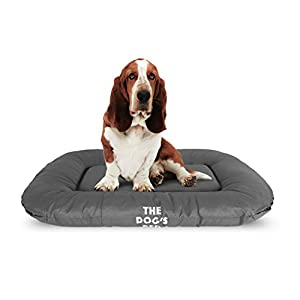 The Dog's Bed, Premium Tough Waterproof Dog Bed, Quality Durable Grey Oxford Fabric, YKK Zippers, Washable Reversible Cover, for Home Car Crate & Yard, Puppy Safe