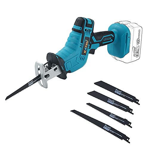 KATSU FIT-BAT 21V Cordless Reciprocating Saw, Battery Powered Mini Pruning Reciprocating Saw, 4pcs Blades Included, Idea for Metal Wood PVC Pipe Tree Pruning Cutting (Without Battery or Charger)