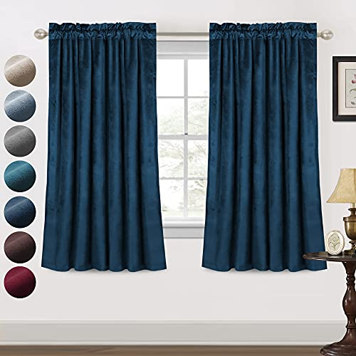 Luxury Velvet Curtains Blackout for Living Room 2 Panels 63 Inches Thick Soft Smooth Room Darkening Decorative Curtain Draperies for Bedroom Windows Rod Pocket (52 x 63 Inch, Navy)