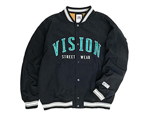 VISION スタジャン ヴィジョンストリートウェア 2021AW ナイロン ワッペン スタジアムジャンパー メンズ ビジョン スタジアムジャケット (ブラック, LLサイズ)