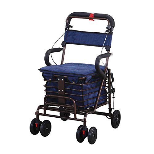 SXRNN Aluminium gehwagen rollator Mit gepolstertem Sitzkorb Und abschließbare Bremsenlager Gehwagen Laden Sie 100 kg