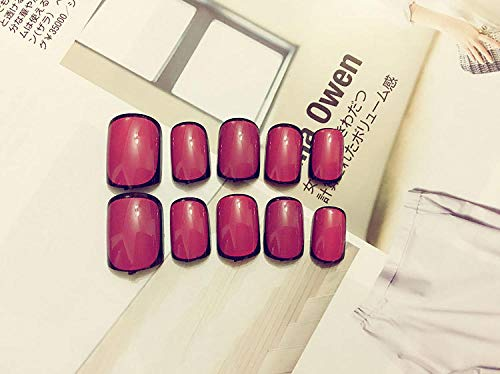 CSCH Faux ongles Fashion Design 24pcs Wine Red Fake Nails with Black Wrapped Pattern Full Cover Finished Finger Patch with Glue Sticker