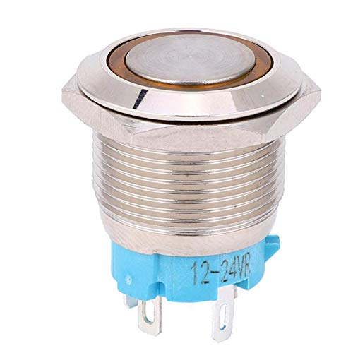 Interruptor de botón, interruptor de botón de 4 pines, 1NO a prueba de óxido resistente a la corrosión para Silver Point 12~24VDC 2pcs toque cómodo(yellow)