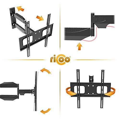 RICOO TV Wand-Halter Wand-Halterung Schwenkbar Neigbar S2644 Curved LED LCD OLED 4K Fernseh-Halterung Flach für Flachbild-Fernseher Bildschirm Schwenk-Arm Wohnwand Moebel VESA | 200 | 400 | mm - 3