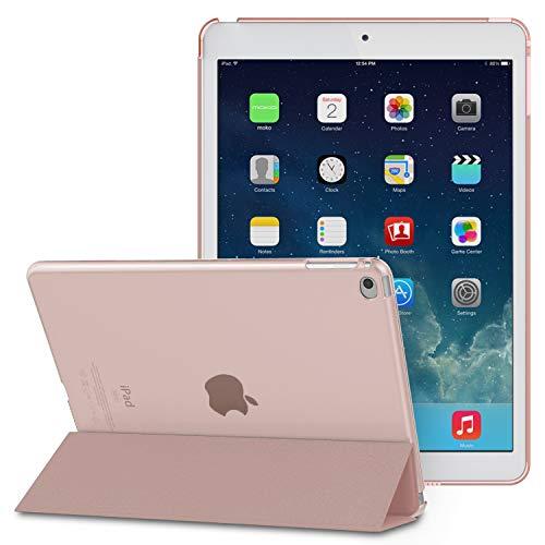 MoKo Funda para iPad Air - Ultra Slim Lightweight Función de Soporte Protectora Plegable Smart Cover Trasera Transparente Durable - Rosa Dorada (No es Compatible con el iPad Air 2)