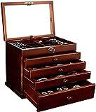 WSZYBAY Boîte de Montre/Multi-Fonction Boîte à Bijoux en Bois Massif, Grande capacité Multi-Grille de Cinq Couches, avec Miroir de Maquillage et Belle Serrure/Dames, Brun (Color : Brown)