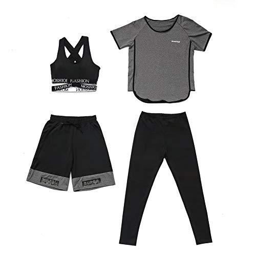Set da yoga per fitness da donna, quattro pezzi di reggiseno + maglietta + pantaloncini + pantaloni, tuta da corsa per atletica, set di grandi dimensioni, tuta per lo sport.-grey-XXL