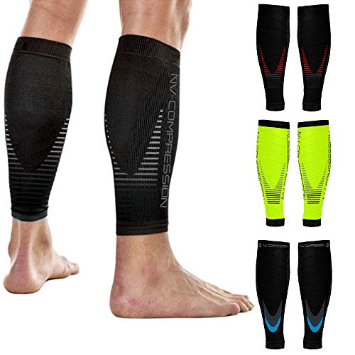 NV Compression Race and Recover Calentadores de Pantorrilla de compresión Negros - Compression Calf Sleeves - Sports Recovery, Work, Flight - Running, Cycling, Gym (Fluo Yellow/Black Stripes, S-M)