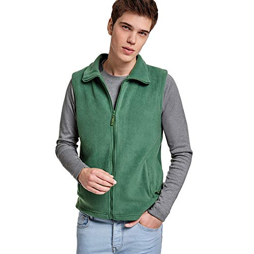 24 JOYAS Chaleco Forro Polar con cuello alto, cremallera y bolsillos - Prenda de abrigo cómoda, suave, cálido y tacto agradable (VERDE, L)