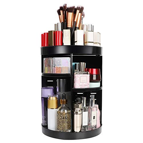 Kootek Rotating Makeup Organizer - 360 Spinning Makeup Storage Rack Adjustable Swivels Cosmetic Organizers Large Capacity Holder with 4 Layers Trays for Bathroom Bedroom Desser Room (Black)