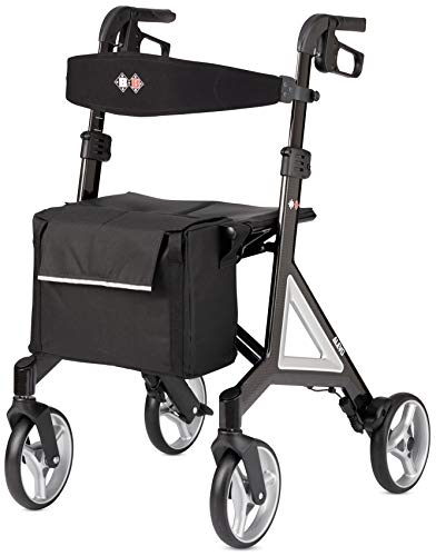 Walker Rollator Designed by Porsche Design Studio | Premium Carbon, Lightweight, Foldable with Backrest, Large Wheels & Seating for Smooth, Stable & Comfortable Experience - Great Control + Steering