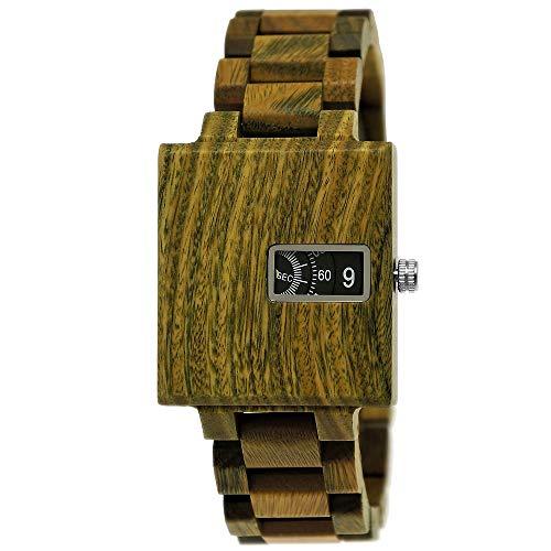 Handgefertigte Holzwerk Germany® Matrix Herren-Uhr Öko Natur Holz-Uhr Holz Armband-Uhr Grün Braun Schwarz Analog Quarz-Uhr Future Edition (Grün)