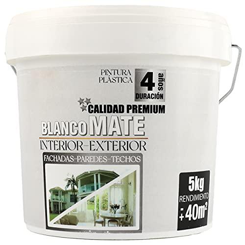 Pintura Plástica Premium Blanca Mate Interior-Exterior 3,5L/5Kg Rendimiento 40㎡