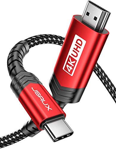 JSAUX Cavo USB C a HDMI [4K@60Hz], Cavo Tipo C a HDMI (Compatibile con Thunderbolt 3), Adatto per iPad Pro 2020 2018, MacBook Pro/Air, Samsung S20 S10 S9 S8 Note 10, Huawei P30 P20 Mate 30 -Rosso 3m